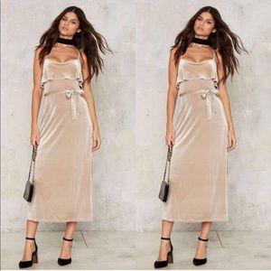 Nasty Gal gold velvet midi dress